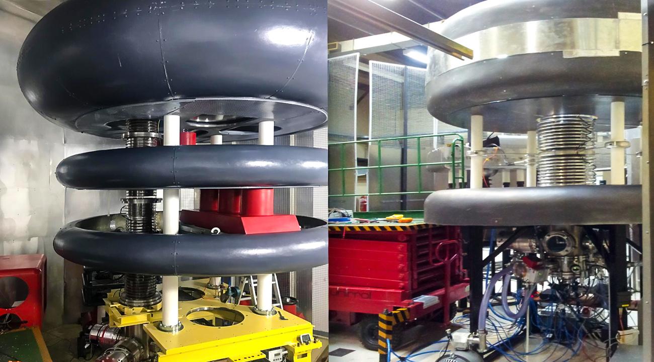 El acelerador está montado en forma vertical y debajo tiene un imán que desvía el haz a noventa grados. Fotos: CNEA.